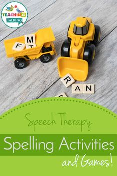 You don't need 'special' speech therapy spelling activities and games: Store-bought children's spelling games make a great addition to your resources cupboard Spelling Games, Spelling Activities, Sequencing Activities, Speech Therapy Activities, Speech Therapy Games, Speech Language Therapy, Speech And Language, Teaching Kindergarten, Teaching Kids