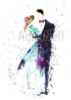 "fashion wedding illustration watercolor paint art modern painting handmade save the date wedding invitation art print digital ""mariage élégant"", aquarelle mariage moderne peinture faire part a imprimer"