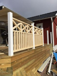 Pergola For Sale Craigslist Porch Balusters, Wood Deck Railing, Wood Fence Design, Balcony Railing Design, Railings, Cabin Porches, Farmhouse Front Porches, Decks And Porches, Balcony Grill Design