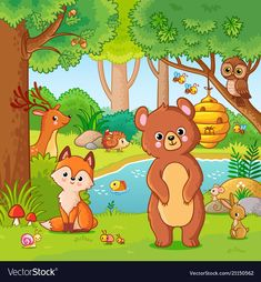 Buy Fox and Bear in the Forest by svaga on GraphicRiver. Fox and bear in the forest. Vector illustration with wild animals. Flying forest in cartoon style. Art Drawings For Kids, Drawing For Kids, Easy Drawings, Art For Kids, Wild Animals Drawing, Animal Drawings, Forest Drawing, Camping Crafts, Baby Scrapbook