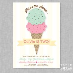 Ice Cream Social Birthday Party Invitation por PaperCrazeDesigns