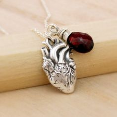 Anatomical Correct Heart Necklace with Gemstone by TNine Design