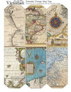 Free printable vintage map tags. This site has beautiful Victorian-themed graphics and artwork.: