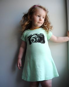 Camera T-Shirt Dress, Hand Dyed Minty Aqua Green and screen printed in Black ink. Size 6 $28.00