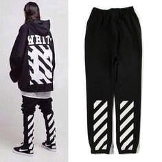 off white pants White Jeans Outfit, White Outfits, Sport Outfits, Cool Outfits, White Tracksuit, Off White Pants, Mens Dress Pants, Men's Pants, Dark Fashion