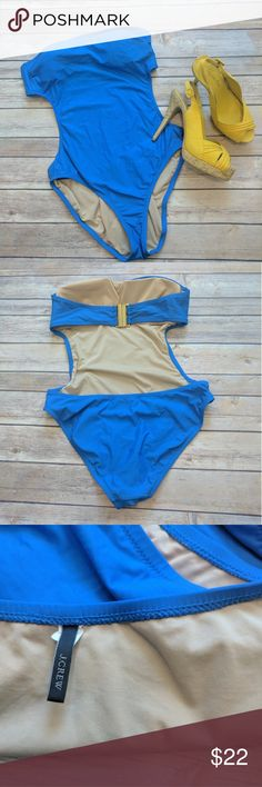 J.Crew one piece swim suit Gently wore for a few times. Blue swim one piece suit from J.Crew. slimming waist cut off and beatiful back belt buckle. No straps (reflected to the price)Size 8. The price is firm. J. Crew Swim One Pieces