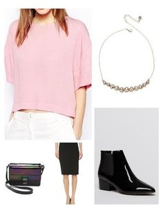 The classic pencil skirt is appropriate for any occasion.  Mix it with a patent leather accessories for a chic modern look.