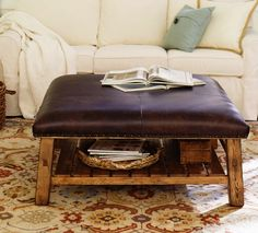 Pottery Barn ottoman coffee table - furniture without corners on redsoledmomma.com