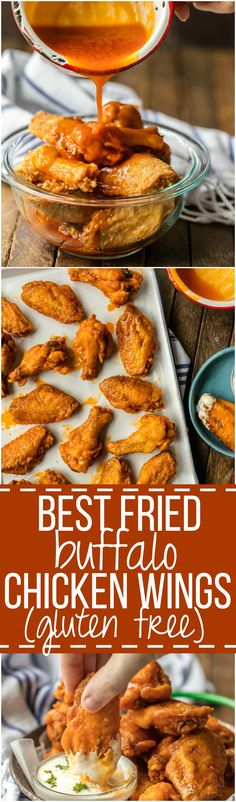 The BEST FRIED BUFFALO WINGS that just so happen to be GLUTEN FREE! Spicy deep fried buffalo chicken wings perfect for tailgating, the Super Bowl, and every day in between! Fried Buffalo Wings Recipe, Fried Chicken Wings, Deep Fryer Chicken Wings, Deep Fried Wings Recipe, Chicken Breasts, Chicken Thighs, Tailgating Recipes, Barbecue Recipes, Barbecue Sauce