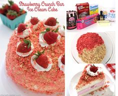 Strawberry Crunch Bar Ice Cream Cake - all the flavors of the famous ice cream bar right in a cake Strawberry Crunch Cake, Strawberry Shortcake Ice Cream, Strawberry Desserts, Famous Ice Cream, Cake Recipes, Dessert Recipes, Dessert Ideas, Vegetarian Cookies, Cakes Today