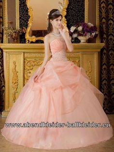 Sissi Wolumen Kleid Ballkleid in Apricose