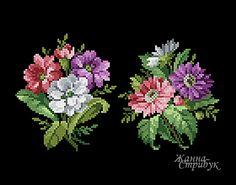 Артикул 211120 Два букета Палитра 28 цвета в DMC. Размер 60х70 крестика Price 4$ Code 211120 Two bouquets A palette of 28 colors in DMC. Size 60x70 st. Price4$