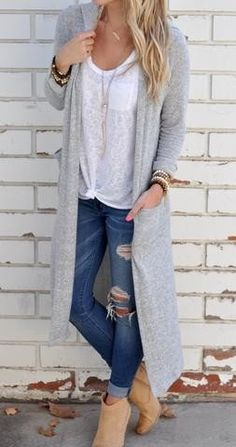 summer outfits Grey Maxi Cardigan + White Tee + Ripped Skinny Jeans