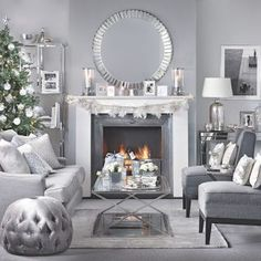 Need traditional living room DIY home decorating ideas? Take a look at this silver and grey Christmas living room from Ideal Home for inspiration. ** More details can be found by clicking on the image. Silver Living Room, Living Room Grey, Living Room Interior, Home Living Room, Living Room Designs, Silver Room, Apartment Living, Living Room Decor Colors Grey, Cozy Living