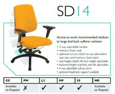 The Spynamics SD14 Back Care Chair chair provides an Access To Work recommended solution, for medium to large bad back sufferers. For further details go to: http://www.genesys-uk.com/Back-Care-Chairs/Spynamics-Back-Care-Chair/Spynamics-SD14-Back-Care-Chair.Html Genesys Office Furniture Home Page: www.genesys-uk.com