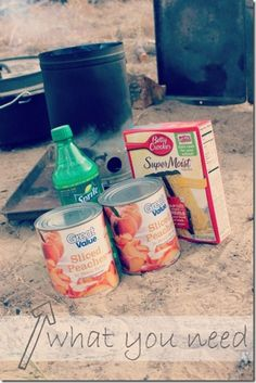 3-ingredient campfire peach cobbler ::: cheater's peach cobbler ::: one sweet appetite