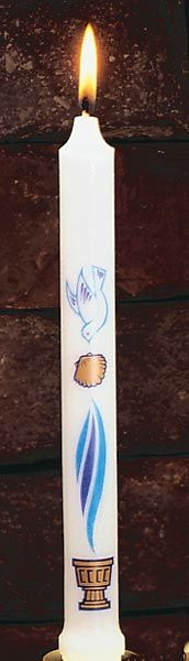 First Light - Baptismal Candle of white stearine appropriately decorated in three colors. Baptism Candle, Candle Craft, Baptism Ideas, Lutheran, One Light, Confirmation, Catholic, Families, Shell