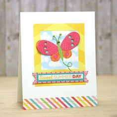 Echo Park Paper: Sweet Summer Day - Scrapbook.com - Such a happy card with bright colors and a sweet butterfly!
