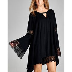 SABRINA bell sleeve lace tunic top - BLACK Solid, rayon gauze tunic top featuring a cut-out neckline and bell sleeves with lace trim. A-line silhouette. Unlined. Non-sheer. Lightweight. 100% RAYON. ALSO AVAILABLE IN TAUPE. NO TRADE, PRICE FIRM Tops Tees - Long Sleeve