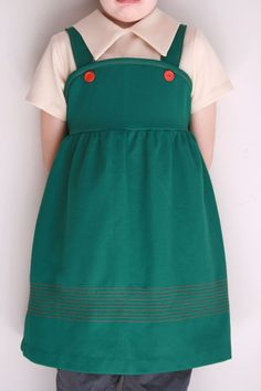 Vintage girls dress green and tan size 6 by fuzzymama on Etsy