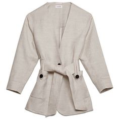 Innsbruck Jacket (650 CAD) ❤ liked on Polyvore featuring outerwear, jackets, button jacket and white jacket
