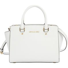 MICHAEL Michael Kors Selma Messenger Bagsdium Top Zip Satchel ($298) ❤ liked on Polyvore featuring bags, handbags, designer handbags, white, satchel hand bags, satchel handbags, white satchel, handbags purses and white handbags