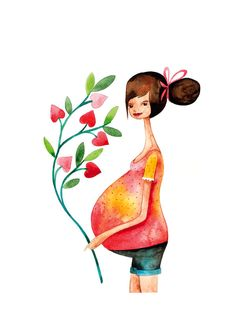 SALE CIJ 15% - Waiting for Baby / Mother New Baby Pregnant Children watercolor illustration print handmade decoration heart pink yellow.