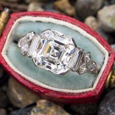 Magnificent 8 Carat Old European Cut Diamond Engagement Ring Asscher Cut Diamond Engagement Ring, 1920s Engagement Ring, Antique Diamond Rings, Queen, Diamond Cuts, 3 Carat, Jewellery, Jewelry Box, Vintage Jewelry