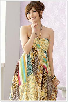 wholesale bohemian dress k8108 Yellow