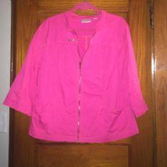 Size 14/16 hot pink jacket. Size 14/16 hot pink 3/4 length sleeves. Avenue Jackets & Coats