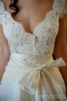 V neck short sleeves lace and taffeta by Lemandyweddingdress, $278.00