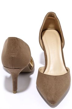 Beauty Call Taupe D'Orsay Kitten Heels at Lulus.com!