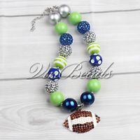 Acrylic Chunky Bead Bubblegum Gumball Football Style Pendant Necklace Jewelry 05