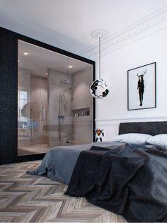 airows: (via Interior Design Inspiration: Dark Moody Bachelor Pad « Airows) Modern Interior Design, Interior Design Inspiration, Interior Architecture, Design Ideas, Amazing Architecture, Suites, Luxurious Bedrooms, Apartment Design, Apartment Door