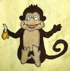 (7) Name: 'Quilting : Baby Monkey Applique Block