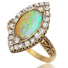 Magnificent... Victorian Opal and Diamond ring