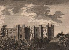 DURHAM/CASTLES: Branspeth Castle, Durham; Antique 18th century copperplate print, 1776; approximate size 11.0 x 15.0cm, 4.25 x 6 inches