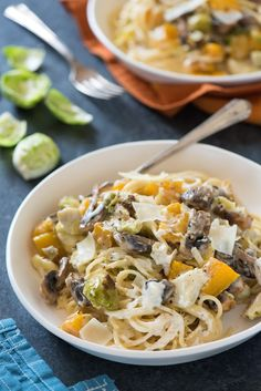 Creamy Roasted Autumn Vegetable Pasta - Celebrate fall's bounty with this creamy pasta tossed with roasted butternut squash, brussels sprouts and mushrooms.