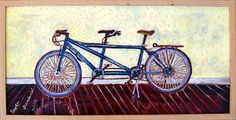 Tandem Bicycle Framed Oil Painting 12x24, $295.00