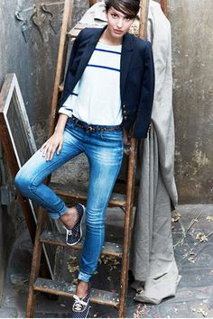 What to Wear During the Week, Casual Yet Pulled-Together Edition: Striped Top, Navy Blazer, Patterned Sneakers