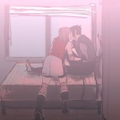 temarisdeer:It's not exactly the image I had in my head, but I tried. I was imagining a scene after the war where Sasuke and Naruto are healing up in the hospital and Sakura comes in quite early one morning to put out their meds. Naruto is still asleep, and Sasuke just sort of, pulls her in for a quiet little kiss.
