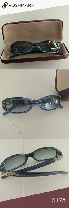 Salvador Ferragamo Blue Italian Sun Glasses Made in Italy  In great condition, please let me know if you have any questions or want to see additional photos! Salvatore Ferragamo Accessories Sunglasses