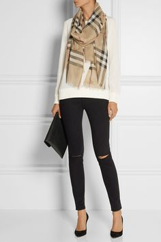 Burberry Shoes & Accessories   Checked wool and silk-blend scarf   NET-A-PORTER.COM
