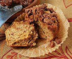 #paleo Pumpkin Streusel Muffins: ½ cup pumpkin puree; ½ cup coconut oil, melted; 3 tablespoons coconut milk; 6 eggs; 6 medjool dates, pitted and mashed with 1 tablespoon water and 1 tablespoon maple syrup); 1 tablespoon vanilla extract; ½ teaspoon salt; ¼ teaspoon baking soda; 1 tablespoon pumpkin pie spice; ½ cup coconut flour Streusel: ½ cup pecans, chopped; ¼ cup almond meal/flour; 1 teaspoon ground cinnamon; 1 tablespoon coconut oil, melted
