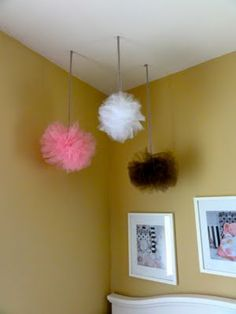 DIY Tulle  pom poms    I want this for my new room instead of the tissue paper ones. Blue, red, and green?