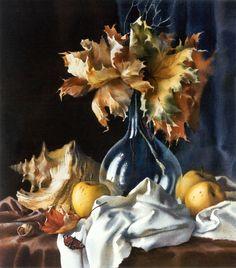 Elena Bazanova. Still life with autumn leavs, 56,5х50,5 cm, watercolor on paper, 1998
