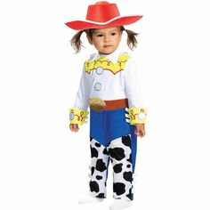 Get your little one saddled up for play with this Jessie Costume for babies! The jumpsuit features a top with red swirls and yellow panels. Just below is a belt and blue pants with cow-print chaps. Top it off with the red cowboy hat. Baby Costumes, Jessie Costumes, Toy Story Costumes, Neutral Baby Clothes, Funny Baby Clothes, Unisex Baby Clothes, Halloween Costumes Online, Halloween Costume Shop, Red Cowboy Hat