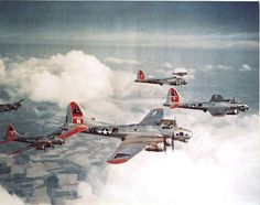 War History Online  B-17G Fly Fortresses of the 381 Bomb Group escorted by P-51B Mustangs