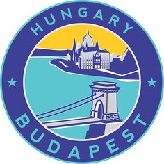 'Budapest Chain Bridge, circle blue' Sticker by Alma-Studio Budapest Travel, Luggage Labels, Tumblr Stickers, Car Bumper Stickers, Laptop Covers, Glossier Stickers, Sticker Design, Vinyl Decals, Framed Prints