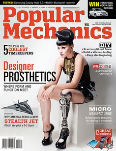 Popular Mechanics Magazine cover, June 2013 issue featuring designer prosthetics. To contact TWX Magazine Customer Service by phone about your Popular Mechanics (POPMECH) magazine subscription: 1- (877) 463-3032